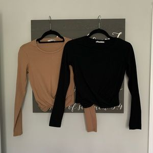 NWOT Zara 2 Long Sleeve CropTops